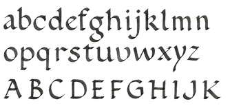 example of roundhand alphabet